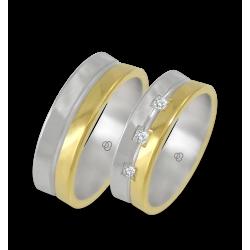 Fedi in oro bianco egiallo con 3 diamanti modello 62524
