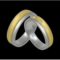 Пара обручальных колец из желтого и белого золота с тремя бриллиантами модель mc252124