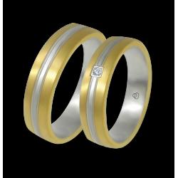 Fedi in oro giallo e bianco con 1 diamante modello bi058814