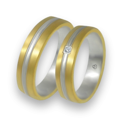 Wedding bands in yellow and white gold one diamond model bi058814