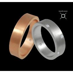 Пара обручальных колец из розового и белого 18-каратного золота с 8 бриллиантами модель bb064434