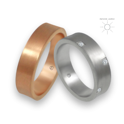 Rose and white wedding bands in gold 18k with 8 diamonds model bb064434
