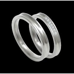Пара обручальных колец из белого золота с 5 бриллиантами модель ab036924