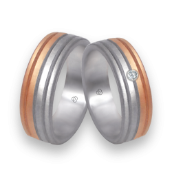 Wedding rings rose and white gold with rows model md062532