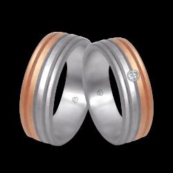 Пара обручальных колец из белого и розового золота с вертикальными полосами и 1 алмазом модель md062532