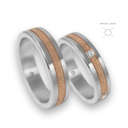 Wedding bands white and pink gold with 4 diamonds model zp053434