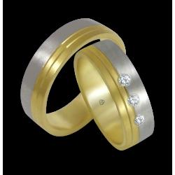 Пара обручальных колец из белого и желтого золота с тремя бриллиантами модель ba066124