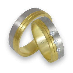 Wedding bands white and yellow gold with 3 diamonds model ba066124