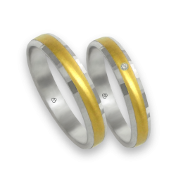 Wedding rings white and yellow at the center in gold 18k model ml046732