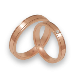 Wedding rings in rose gold 18k polished surface model aq537401