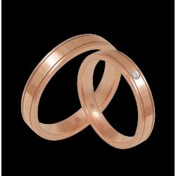 Пара обручальных колец из розового золота 18kt полированная поверхность model aq537401