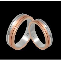 Пара обручальных колец из белого и розового золота, матовая и полированная поверхность с 5 бриллиантами модель md068234