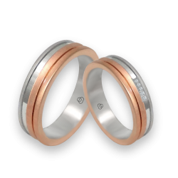 Wedding bands in white and rose gold 18k, satin and polished finish with 5 diamonds model md068234