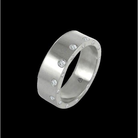 Anello unisex in oro bianco 18 kt lucido con 12 + 12 diamanti modello ab56779dw