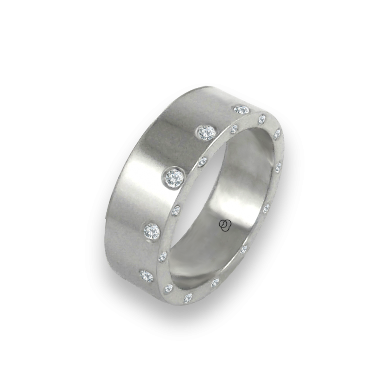 Unisex ring in white gold 18k with 12 + 12 diamonds polished finish model ab56779dw