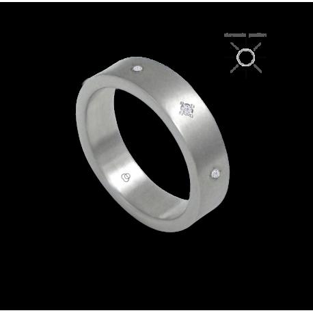 Anello unisex in oro bianco 18 kt lucido con 8 diamanti modello 8b05406dw