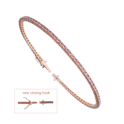 Diamonds Tennis Bracelet in rose gold and pink sapphires - Model Pink Sapphires