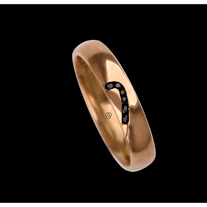 Anello / fede nuziale donna in oro rosa 18 kt con disegno metà cuore 6 diamanti modello aq731744dw_black