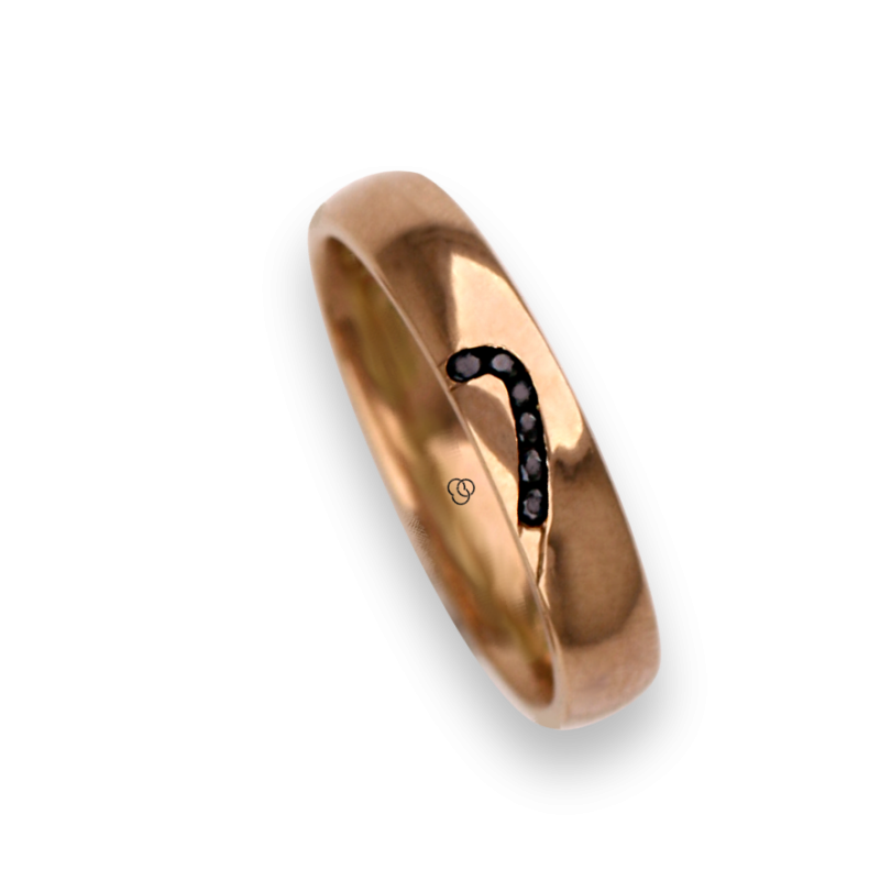 Woman ring for wedding in rose gold 18k polished finish six diamonds model aq731744dw_black