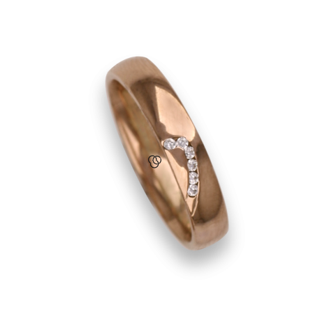 Woman ring for wedding in rose gold 18k polished finish six white diamonds model aq731744dw
