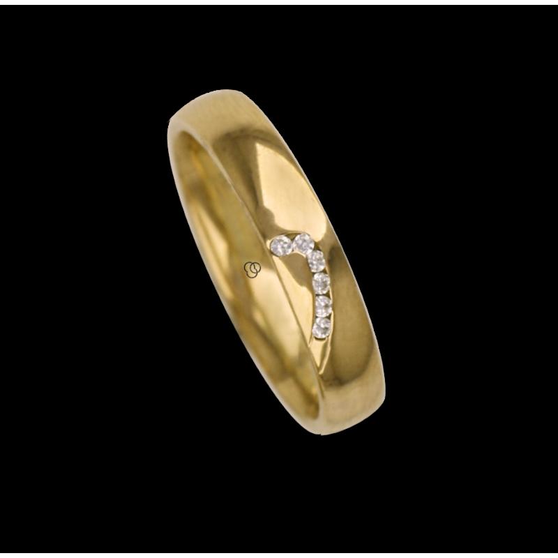 Кольцо / вера для женщина желтый золота 18 кт с половиной сердцем дизайн, шаблон ag731744dw