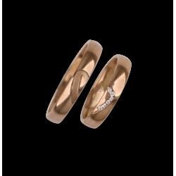 Fedi nuziali in oro rosa 18 kt com metà e metà cuore 6 diamanti bianchi mod. aq731744_white