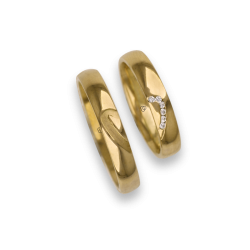 Wedding rings in yellow gold 18k with mid and mid heart pattern model aq731744_white