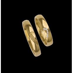 Обручальные кольца 18 кт желтого золота с половиной и половиной сердца шаблон ag246634_white