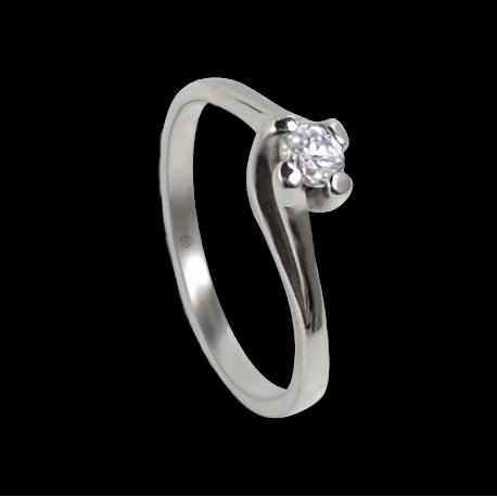 Anello solitario in oro bianco - diamante 0.20 ct - modello Otello