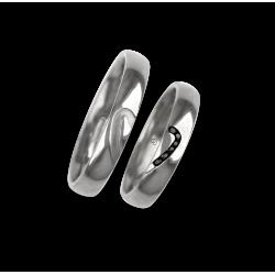 Fedi nuziali oro bianco 18 Kt con metà e metà cuore modello ab731744_black