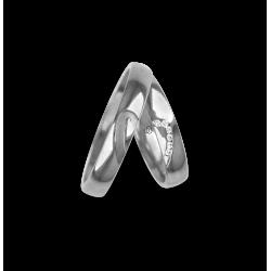 Fedi nuziali oro bianco 18 Kt con metà e metà cuore 6 diamanti bianchi modello ab731744_white