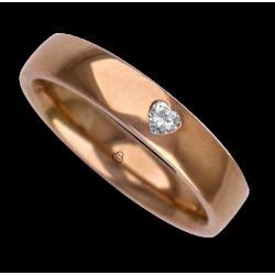 Anello / fede nuziale donna oro rosa lucido 18 kt diamante forma cuore modello aqCuoreDiLu01dw