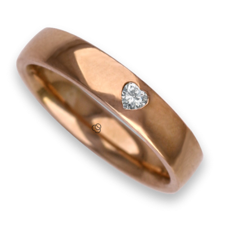 Woman ring for wedding in rose gold 18k polished finish heart shape diamond model aqCuoreDiLu01dw