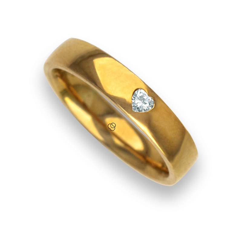 Woman ring for wedding in yellow gold 18k polished finish heart shape diamond model agCuoreDiLu01dw