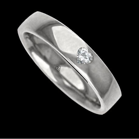 Кольцо / обручальное кольцо из белого золота отполирована женщина 18 Кт Даймонд в форме сердца узор abCuoreDiLu01dw