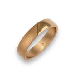 Man ring for wedding in rose gold 18k polished and sandblast finish model vaqCuoreObSa03ew