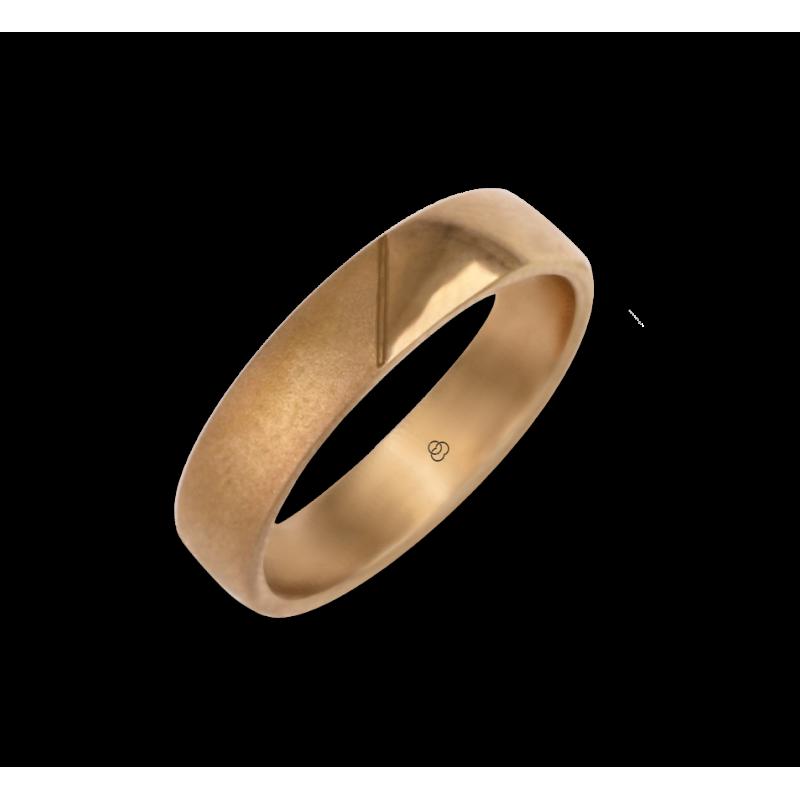 Man ring for wedding in rose gold 18k polished and sandblast finish model vaqCuoreObSa03ew