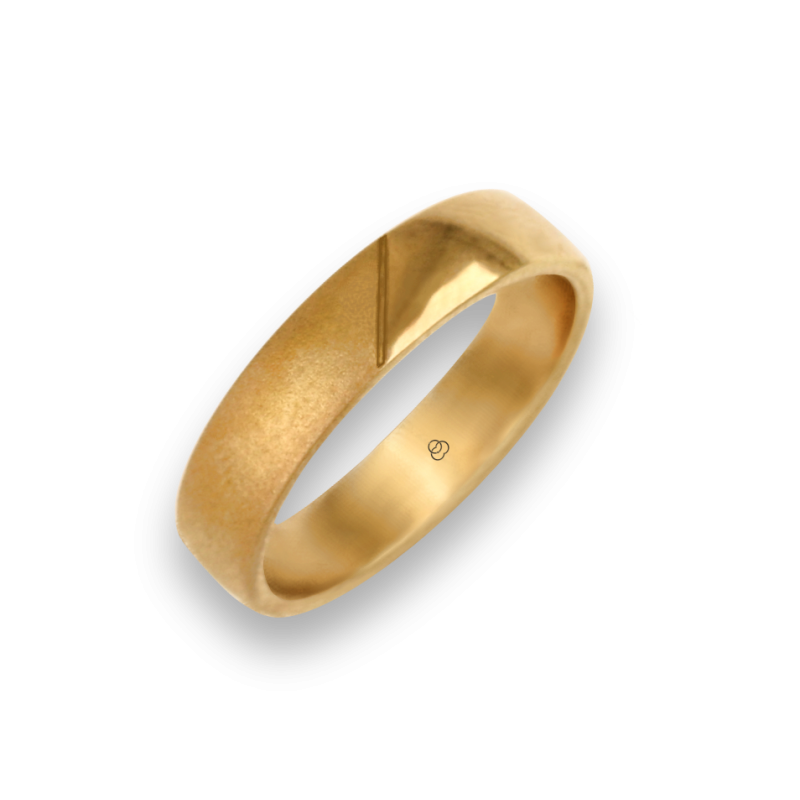 Man ring for wedding in yellow gold 18k polished and sandblast finish model vagCuoreObSa03ew