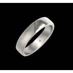 Кольцо / обручальное кольцо мужчина в 18 кт белый золота полированной и пескоструйная модели vabCuoreObSa03ew