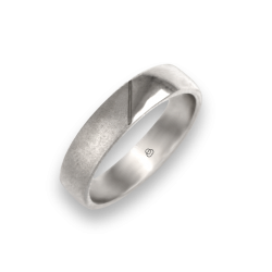 Man ring for wedding in white gold 18k polished and sandblast finish model vabCuoreObSa03ew