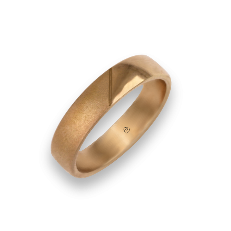 Woman ring for wedding in rose gold 18k polished and sandblast finish model vaqCuoreObSa03ew