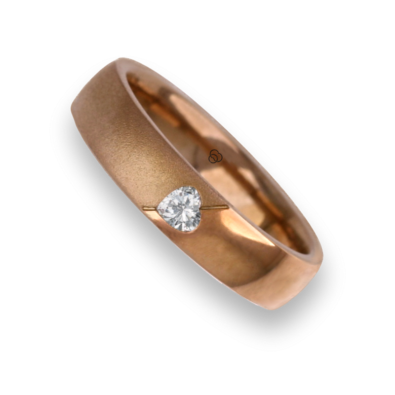Woman ring for wedding rose gold polished - sandblast finish heart shape  diamond model vaqCuoreObSa04dw