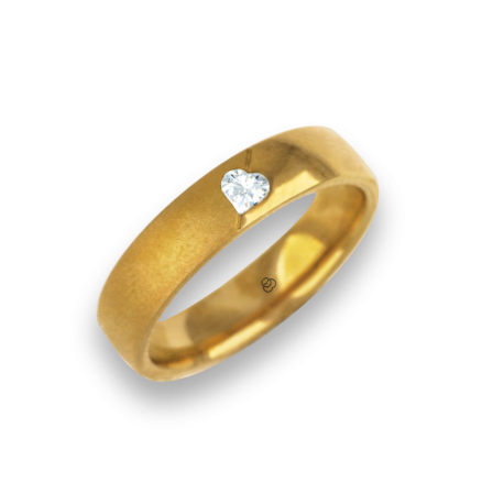 Anello / fede nuziale donna oro giallo lucido e sabbiato diamante forma cuore modello vagCuoreObSa04dw