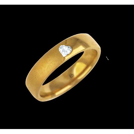 Woman ring for wedding yellow gold polished - sandblast finish heart shape diamond model vagCuoreObSa04dw