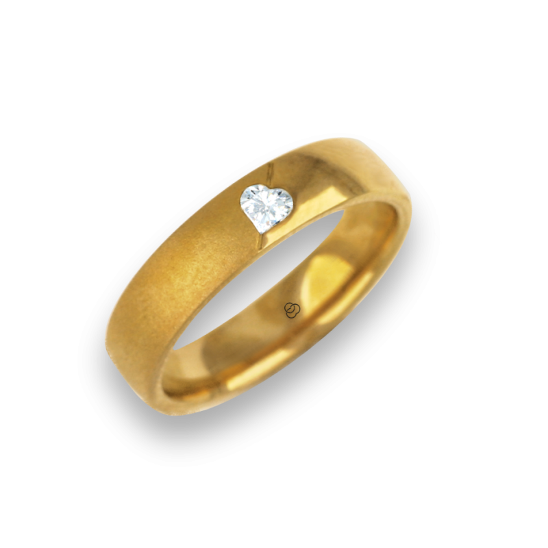 Woman ring for wedding yellow gold polished - sandblast finish heart shape diamond model vagCuoreObSa04dw