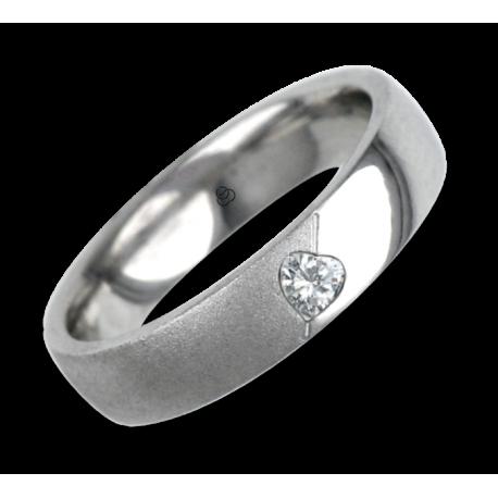 Woman ring for wedding white gold polished - sandblast finish heart shape diamond model vabCuoreObSa04dw