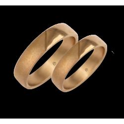 Обручальные кольца из розового золота полированный и отшлифованной модель vaqCuoreObSa03