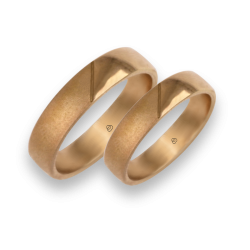 wedding rings in rose gold 18k shiny and sandblasted model vacCuoreObSa03