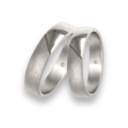 White gold wedding rings with surface polished and sandblast model avbCuoreObSa