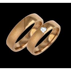 Anelli di nozze in oro rosa con superficie lucida e sabbiata modello vaqCuoreObSa03